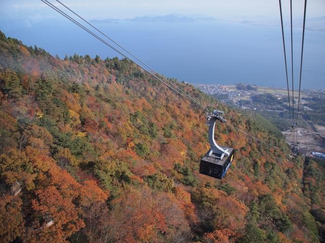 滋賀県大津市にあるびわ湖バレイロープウェイは、秒速12mという日本一の早さで山頂まで行くことができ、琵琶湖や季節ごとに移り変わる山の様子を楽しめる人気スポット